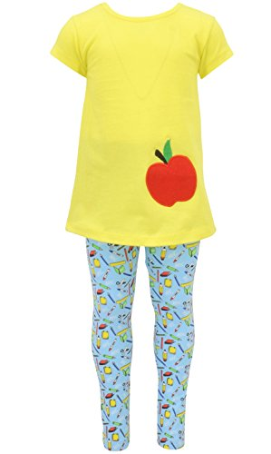 Unique Baby Girls Back to School Apple Embroidered 2 Piece Outfit (4) Yellow -
