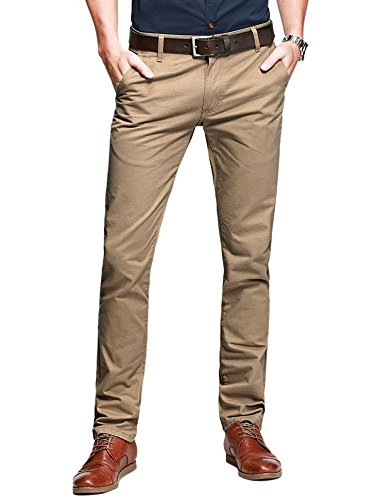 OCHENTA Mens Casual Slim-Tapered Flat-Front Pants Khaki Labl