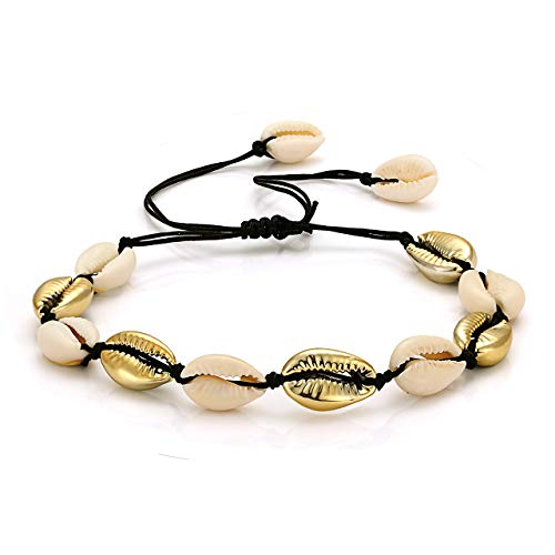 Bracelets Hawaiian Gold - CENAPOG Cowrie Shell Anklets Bracelet for Women Cord Rope Anklet Woven Sea Shell Hemp Foot Bracelets Gold Cowry Beaded Ankle Bracelets Handmade Hawaiian Beach Jewelry (Mix-Colored)