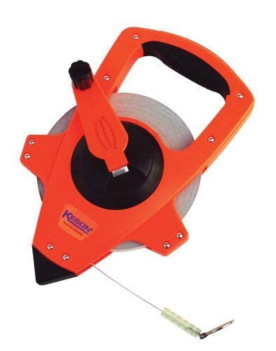 Keson NRS18300 Nylon-Reinforced Steel Blade Tape Measure, Speed Rewind (Graduations: ft., in. 1/8), 300-Foot
