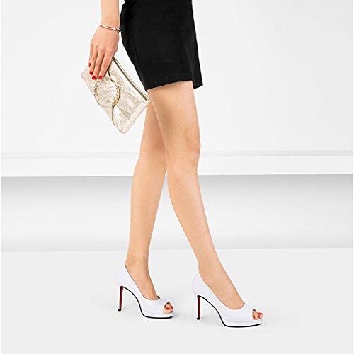Plate taille à Chaussures Noir Fine des Nouveau Blanc forme Shoes 39 Fish imperméable avec sandales hauts 2018 en talons à lacets cuir Mouth Rainbow 10cm High Couleur dZrqdSgw