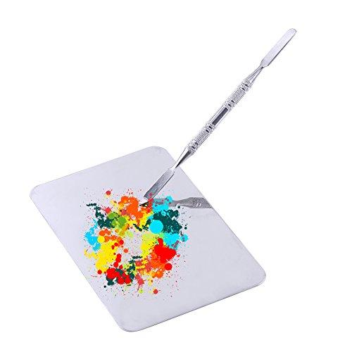 Paleta de mezcla Maquillaje Herramienta de mezcla de acero inoxidable con espátula para la fundación cosmética de pigmento...