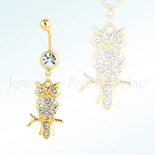 Silver OWL w/ CZ Belly Ring, Polished Screw-on 14G Banana Barbel 316L Surgical Steel Navel Ring - Yellow by JA Belly Rings