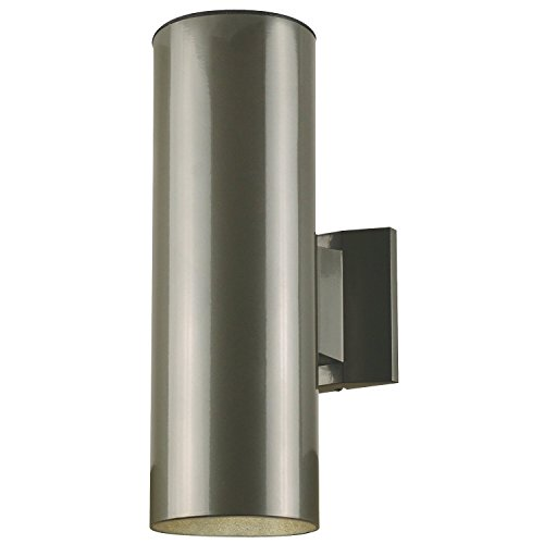 Two-Light Up and Down Light Outdoor Wall Fixture Polished Graphite Finish on Steel Cylinder