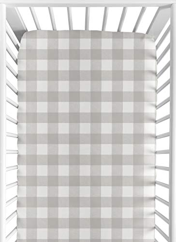 Sweet Jojo Designs Gray and White Rustic Farmhouse Woodland Flannel Unisex Boy or Girl Baby or Toddler Fitted Crib Sheet for Grey Buffalo Plaid Check Collection - Country Lumberjack