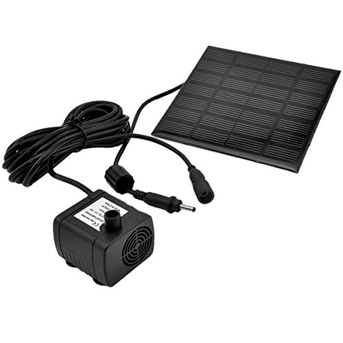 - UEETEK 1.2W 7V 180L/H Solar Power Water Pump Garden Fountain Submersible Pump with Suckers (Black)