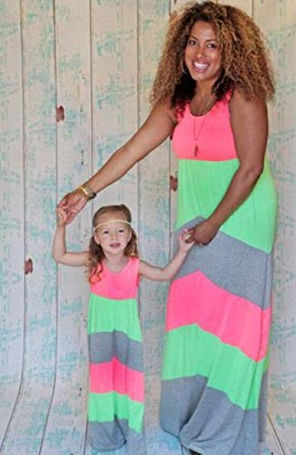 dccccf45a7d0 Fashion Summer Mother Daughter Dress Striped Matching Mom Daughter Clothes  Family Look Dress Bohemian Style Family Clothing : Color 13, Mom L:  Amazon.in: ...