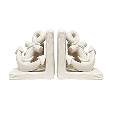Haven White Ceramic Anchor Bookends, Set of 2