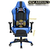 Large Size Computer Gaming Chair Ergomonic Racing Chair with Retractable Footrest,Execultive PU Leather Headrest Lumbar Massager Cushion Ergonomic Swivel PC Chair for Home (Black&Blue)