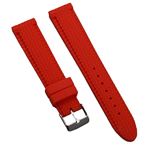 (New Sport Red Silicone Rubber Tire-Tread Watch Strap Band with S/S Buckle 22mm)