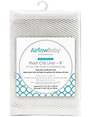 """Airflowbaby by BreathableBaby Mesh Crib Liner, 9"""" Anti-Bumper, Non-Padded - White"""