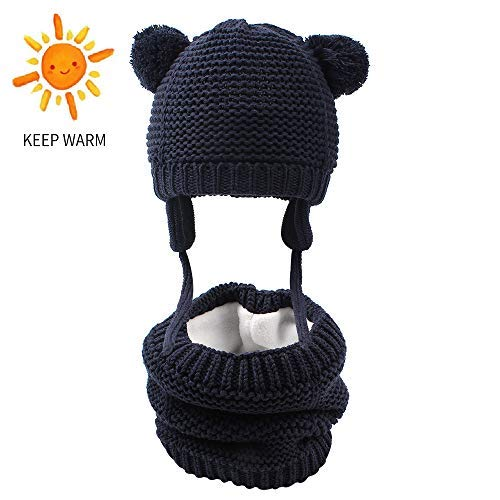 (XIAOHAWANG 2PCS Baby Hat Scarf Set Winter Boys Girls Toddler Earflap Beanie Warm Neckerchiefs Infant Thick Knit Scarves Caps for Kids (Hat Scarf Set(Navy), L(12-24 Months)))
