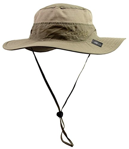 Camo Coll Outdoor Sun Cap Camouflage Bucket Mesh Boonie Hat (Khaki, One Size)