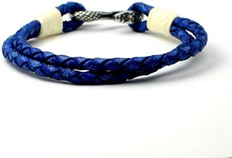 レザー ブレスレット 革紐 スネーク 蛇 ステンレス レディース メンズ S字フック レザーブレスレット (ブルー L)