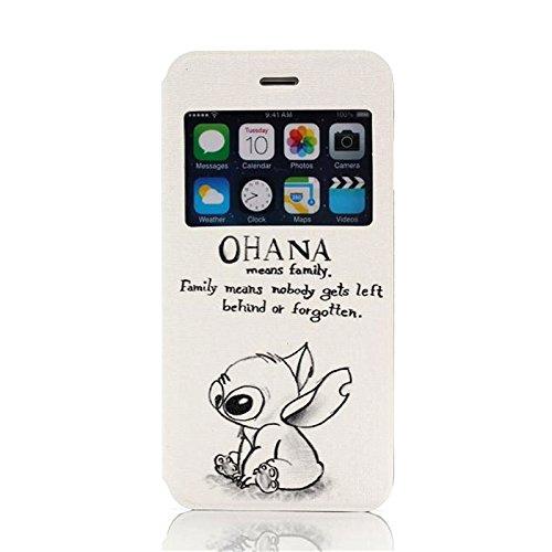 iPhone 6 Plus 6S Plus 5.5 inch Case, Dteck(TM) Ultra Slim Funny Cartoon PU Leather [Window View] Flip Stand Case for Apple iPhone 6 Plus 6S Plus 5.5 Inch (3 OHANA)