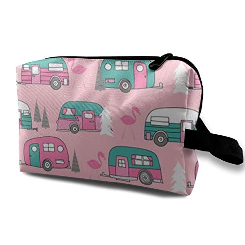 Premium Make up Bag Tote Bag Makeup Pouch, Happy Camper Pink Retro Flamingo Camping Multifunction Cosmetic Train Case Organizer Portable Gift for Women Girl, Cosmetics Pen Case Box