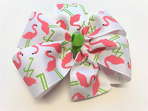 Girls Flamingo Hair Bow Barrette Pink Flamingo Hair Clip