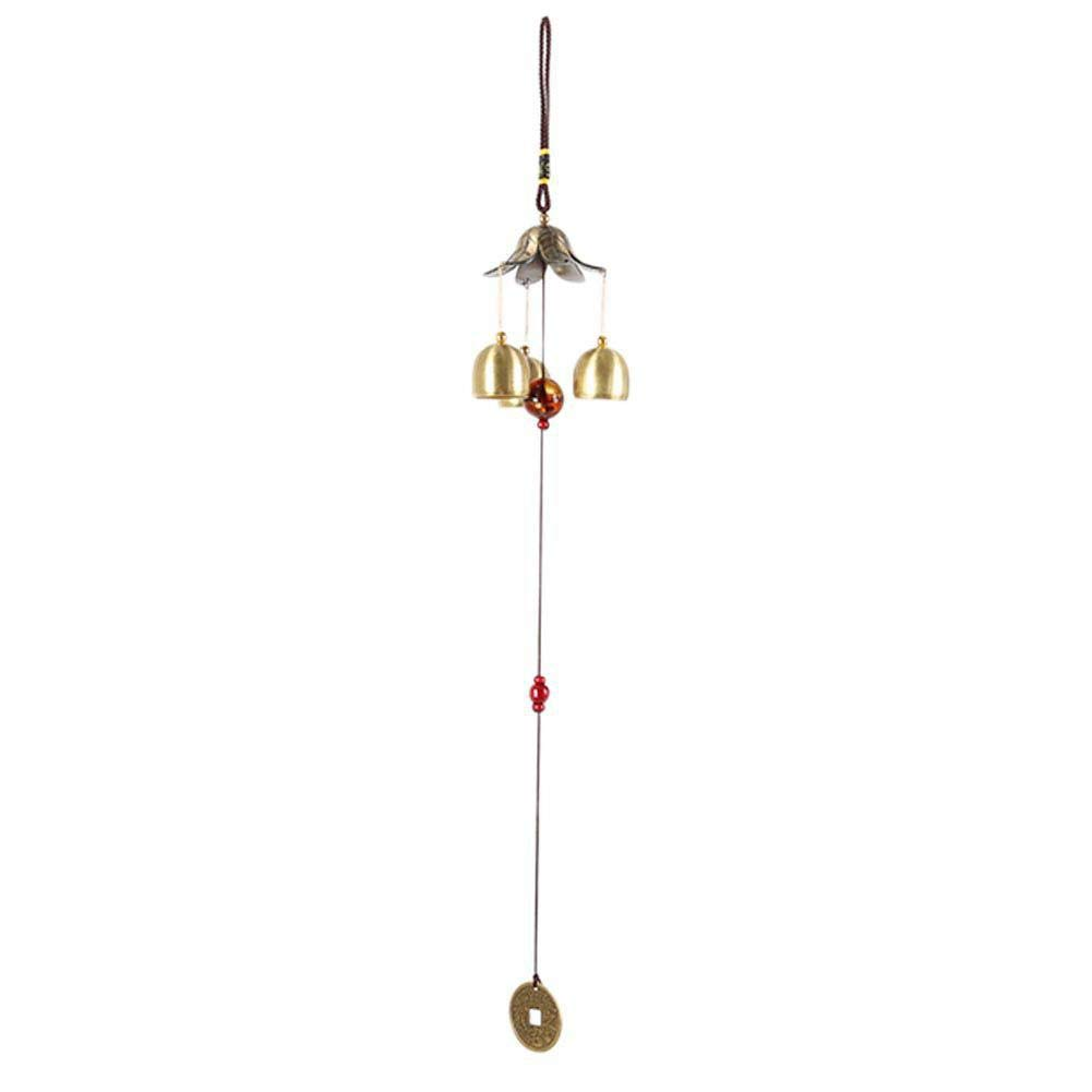 Forart Antique Copper 3 Bells Lucky Wind Chimes Outdoor Home Decoration Hanging Wind Chimes