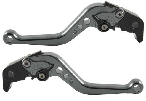 Short Brake and Clutch Levers for KAWASAKI ZX10R 06-15,ZX6R 2007-2017,ZX636 2007-2017,Z1000 2007-2016,Z1000SX/NINJA1000/TOURER 2011-2016,Z750R 2011-2012-Grey by RIDE IT
