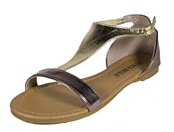 Sami-33! By RCK Bella Comfy Fashion Gladiator Inspired Design Color Block Flat Sandals, gold leatherette, 7 M