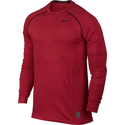 Nike Nike Pro Combat Hyperwarm Dri-FIT Max Fitted Crew - Long Sleeve - Mens Gym Red/Black/Black, M