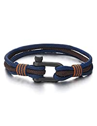 Mens Womens Steel Screw Anchor Shackles Nautical Sailor Navy Blue Brown Rope Wrap Bracelet Wristband(CA)