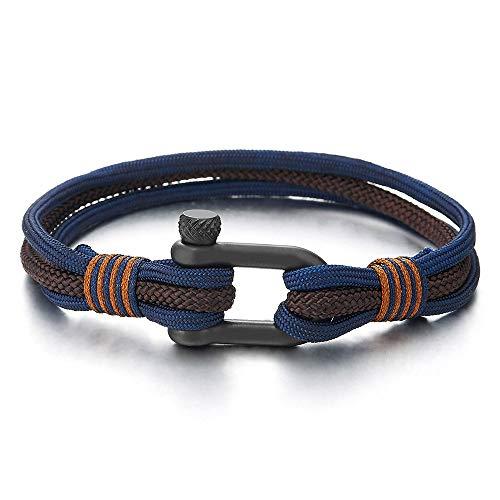 COOLSTEELANDBEYOND Mens Womens Steel Screw Anchor Shackles Nautical Sailor Navy Blue Brown Rope Wristband Wrap Bracelet