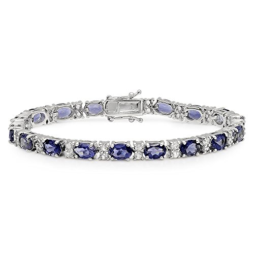 (Dazzlingrock Collection Oval Iolite & Round White Topaz Ladies Tennis Bracelet (7.5 Inch Length), Sterling)