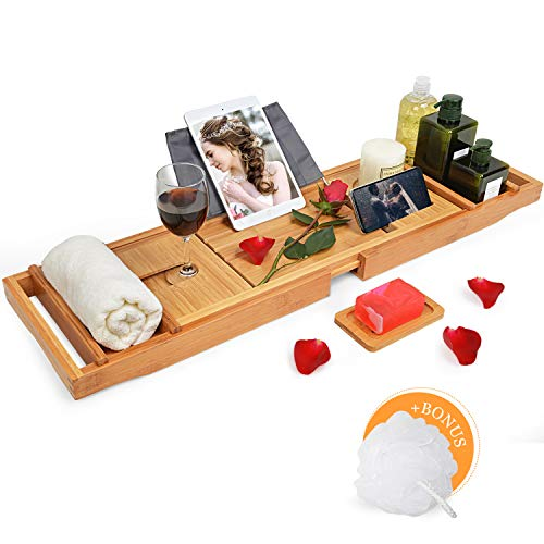 (Domax Bathtub Caddy Tray with Wine Glass Holder - Adjustable Book Stand with Waterproof Cloth Extendable Non Slip Sides 2 Removable Boards Bamboo Bath Organizer)
