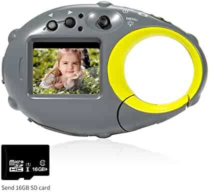"""FLAGPOWER Kids Digital Camera with 16G SD card, Action Camera Camcorder Recorder, 500 Million pixels / 1.5"""" Colour Screen / 4x Digital Zoom / 12MP HD"""
