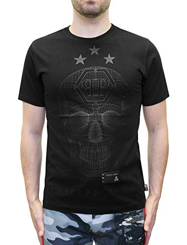 "Philipp Plein ""SAY Something"" T-Shirt with Graphic Skull Print (L)"