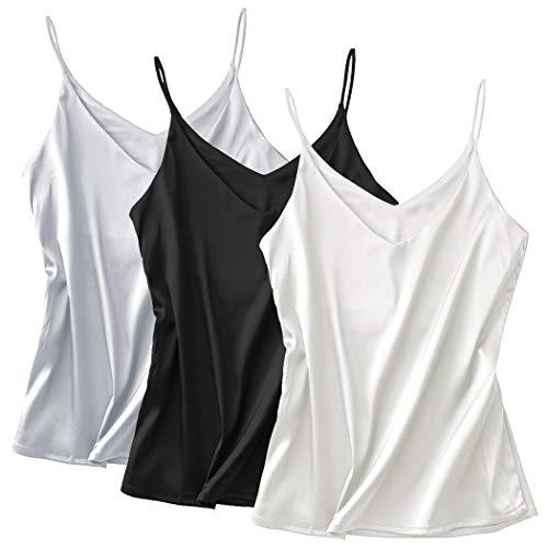 Basic Women's Silk Tank Top Ladies V-Neck Camisole Silky Loose Sleeveless Blouse Tank Shirt with Soft Satin