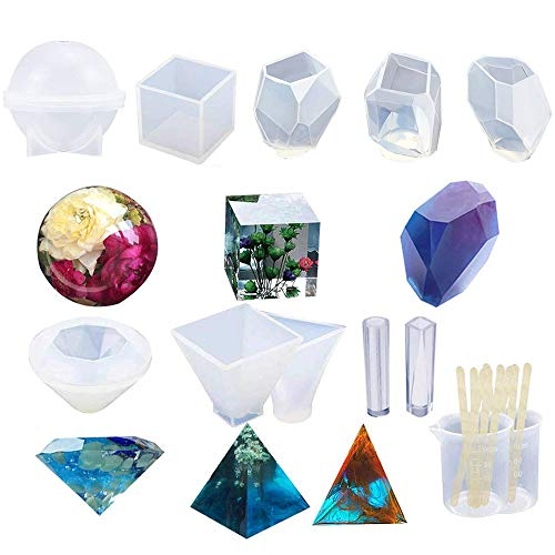 12 Pack Resin Molds Large Clear DIY Silicone Molds for Resin, Soap, Wax etc, Epoxy Resin Mold Including Cube, Pyramid,Sphere,Diamond, Stone Resin Mold,Resin Casting Molds w/Measuring Cup & Wood Sticks