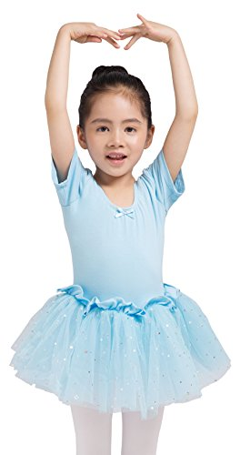 Dancina Girls Skirted Leotard Sparkle Short Sleeve Tutu Ballet Dress 4 Light Blue - Short Sleeve Tutu