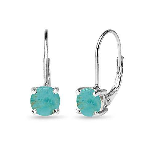 Sterling Silver Polished Simulated Turquoise 6mm Round-cut Leverback Earrings