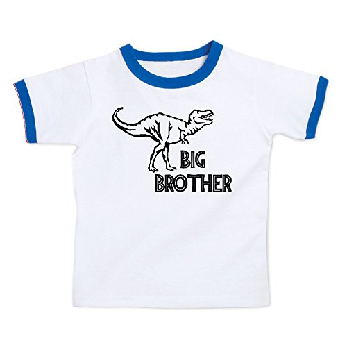 Price comparison product image We Match! Big Brother T-Rex Dinosaur Toddler & Kids Ringer T-Shirt (White/Royal, 4T)
