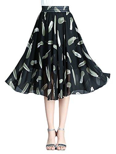 Stampati Elastica Vita Abbigliamento Vintage Lunghezza Moda Gonne Chiffon Estivi Elegante Gonna Cute Donna Giovane Floreale Mid Nero Partito A line dXI7qwIA6n