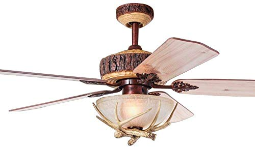 WestmHome 52 Inch Rustic Ceiling Fan With 1 Light Cover Indoor Home Decoration Living Room Antlers Industrial Fans Chandelier 5 Reversible Wood Blades Quiet (Ceiling Light Covers Fan Rustic)