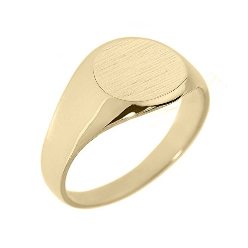 Men's Solid 10k Yellow Gold Engravable Polished Round Top Signet Ring (Size 10.5)