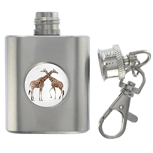 Giraffes Image Design Miniature Brushed Steel 1oz Flask K...