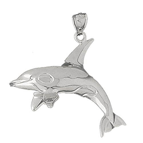 14k White Gold Dolphins Pendant (42 x 37 mm) by K&C