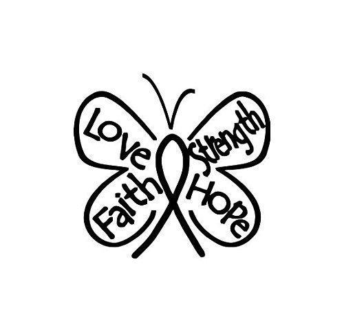 Breast Cancer Butterfly Ribbon, Hope, Faith, Love, Strength Decal (#104) (Hope Faith Love Pink Ribbon)
