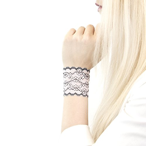 Short Lace Wrist Cuff Bracelet (Black and White Floral) Stretch for Women