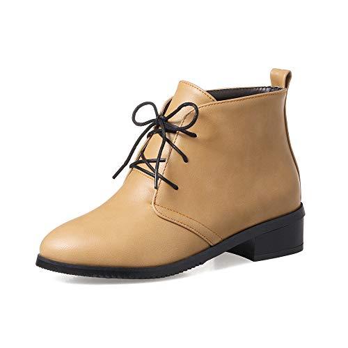Tacón Con Otoño Para Caminar Botines Tamaño Amarillo Casual Mujer 32 Bajo Qingmm Cordones Martin 2018 Invierno De 43 Botas AgqwvZ