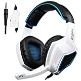 PS4 Xbox One Gaming Headsets,Sades SA920 3.5mm Wired Over Ear Stereo Gaming Headphones with Microphone for PC iOS Computer Gamers Smart Phones Mobiles(Black White)