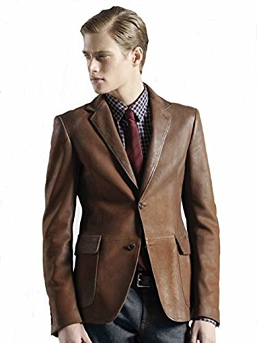 - Leather Hubb Men's New Zealand Lambskin Brown leather blazer/ Jacket Stylish Slim Fit (XXL)