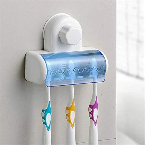 Hacoly Portaspazzolino da Bagno Blu Porta spazzolini per Piastrelle Acciaio Inossidabile Superficie di plastica plastica Vetro Trasparente Porta Spazzolino Bagno da Parete
