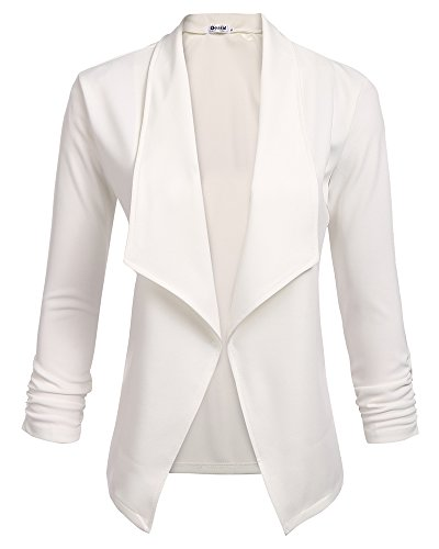 Classic Draped Open Front 3/4 Sleeve Blazer for Women with Plus Size (White, (US 18) XX-Large)