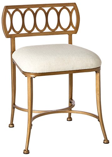 Hillsdale  Canal Street, Gold Bronze Vanity stool, by Hillsdale