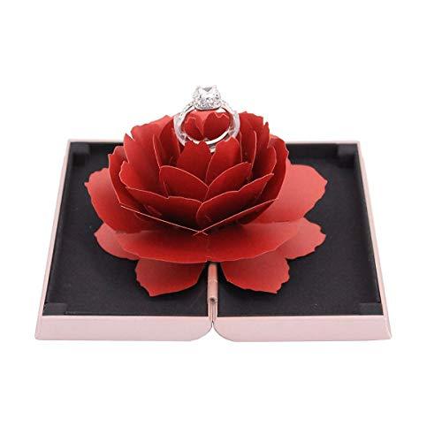 (Orita Jewelry Box Antique Rose Engraved Ring Jewelry Organizer Christmas Gift Pink Box Red Rose)